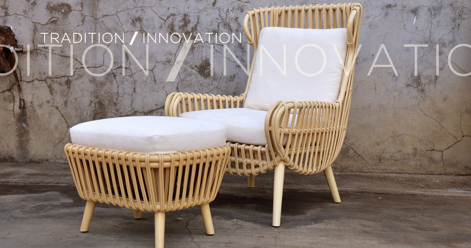 DIANNE OTTOMAN U0026 HIGH BACK LOUNGE CHAIR   LUZON RATTAN 2014 COLLECTION